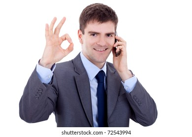 business man on the phone approving the good news, over white