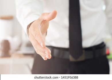 Business man open hand ready to seal a deal, partner shaking hands