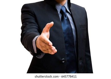 Business man with an open hand  white background