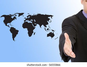 A business man with an open hand with world map background
