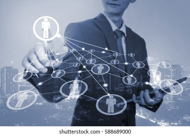 Business man and people icon,business connection concept on blue tone colour image