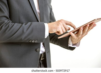 business Man , people and office concept ,working with tablet computer