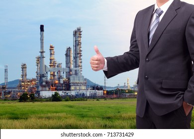 Business man Petrochemical plant with blue sky in Thailand