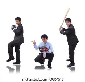 Business man ( pitcher, catcher and batter)