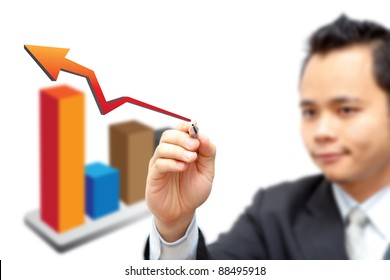 Business man point to 3D graph