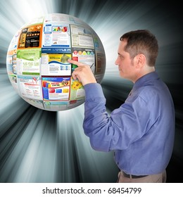 A business man is pointing to an abstract internet ball with websites on it. There are glowing rays coming out of it. Use it for a technology concept.