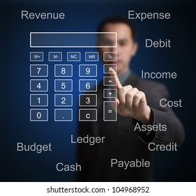 business man pointing at calculator and accounting concept on computer touchscreen