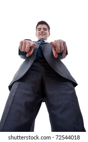 business man pointing to camera, isolated over white background, view from below