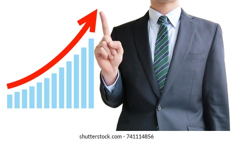 Business man pointing chart