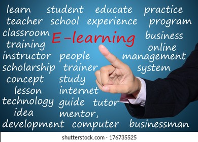business man pointing 'e-learning' concept
