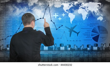 A business man is pointing at financial figures. There are line graphs and pie charts with data. There are also travel themes like a map and airplane.