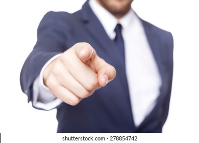 Business man pointing the finger at you, isolated on white background