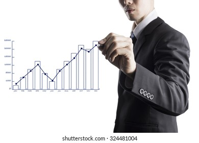 Business man pointing at green bar chart for business growth