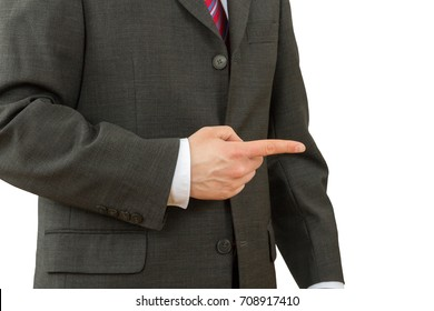 business man pointing his finger on the copy space