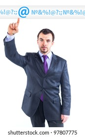 business man pointing at idea change to internet graph.