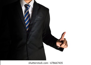 Business man pointing on copy space. Isolate on white background.
