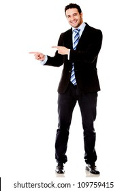 Business man pointing something - isolated over a white background