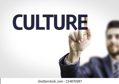 Business man pointing the text: Culture