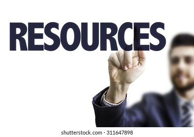 Business man pointing the text: Resources