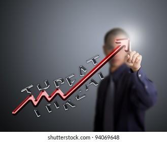 business man pointing at upward arrow break through the threat