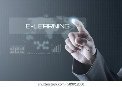 Business man pointing to virtual screen. Education Concept