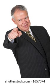 business man pointing at you over a white background