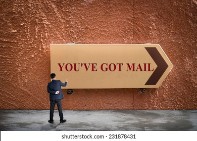 Business man pointing YOU'VE GOT MAIL concept