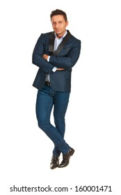 Business man posing isolated on white background