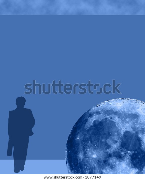Business Man Poster Duotone with Blue Moon - SEE MORE IN MY GALLERY