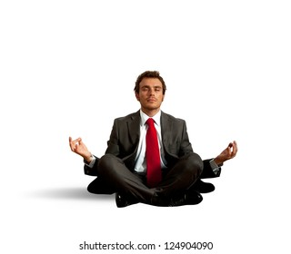 Business man practice yoga on white background