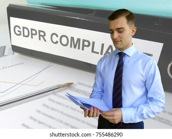 Business Man Preparing for General Data Protection Regulation (GDPR) Compliance