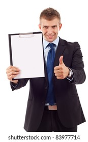 business man presenting a clipboard and giving the ok for it
