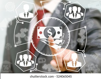 Business man presses cash dollar button on virtual screen on background of network businessman teamwork. Obtaining income wages. Finance trading exchange market money internet concept. Stock, shopping