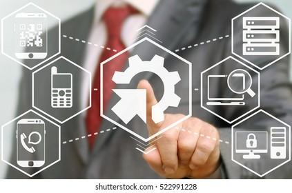 business man presses modernization integration update upgrade technical icon. Gear cogwheel arrow sign.Technician integrated tech smart device service button. Network, electronic equipment concept.