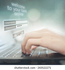 Business man pressing buttons on laptop, on the screen Welcome to your bank online