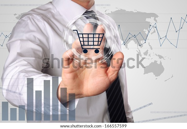 business man pressing shopping cart icon, concept for growing online shopping