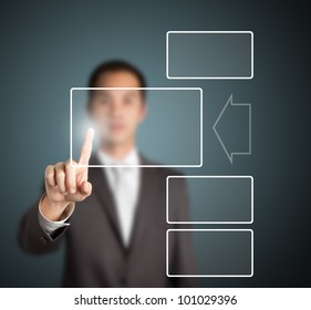 business man pressing touchscreen button with enlargement effect