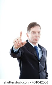 business man pressing a touchscreen button on white background isolated