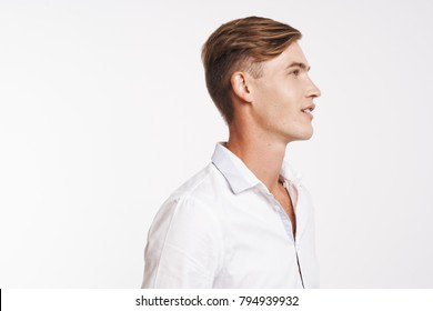 business man in profile on a light background