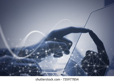 Business man, programmer, software developer working on laptop computer with network connection, monochrome, internet of things IoT, 4.0 digital technology development concept