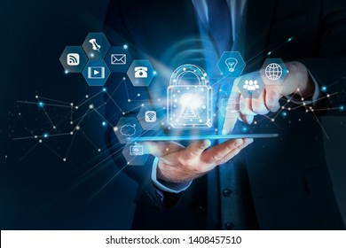 Business man protecting data personal information on tablet, Data protection privacy concept, SSL Certificate, Cyber security network,Padlock icon and internet technology networking connection