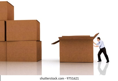 business man pushing a box - isolated over a white background