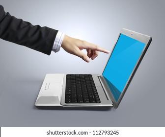 business man pushing a laptop