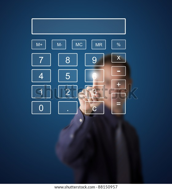 business man pushing number on touch screen digital calculator