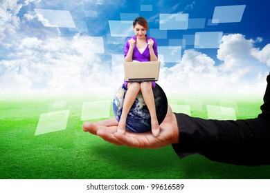 Business man put secretary on grass field : Elements of this image furnished by NASA