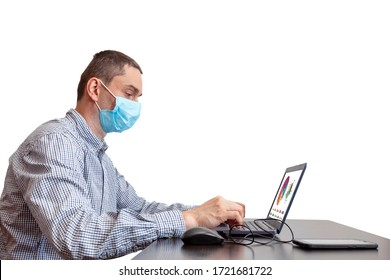 Business Man in quarantine for coronavirus working at his office desk wearing protective face mask. Home office environment isolated on white background. Covid19 Office protection measures.
