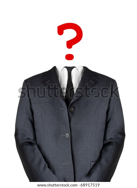 Business man with question mark head