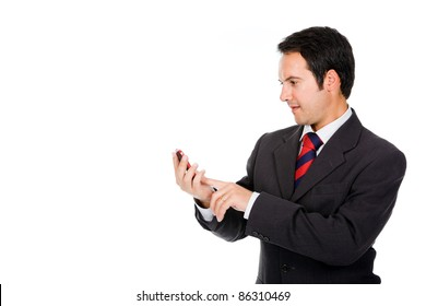 Business man reading a interesting message on his cell phone, isolated on white