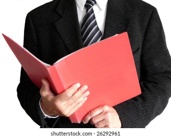 Business man with red office folder