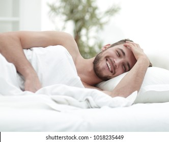 business man resting in a comfortable hotel room